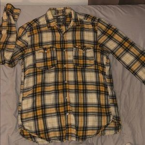 Relaxed Fit Yellow Based Flannel Button Down